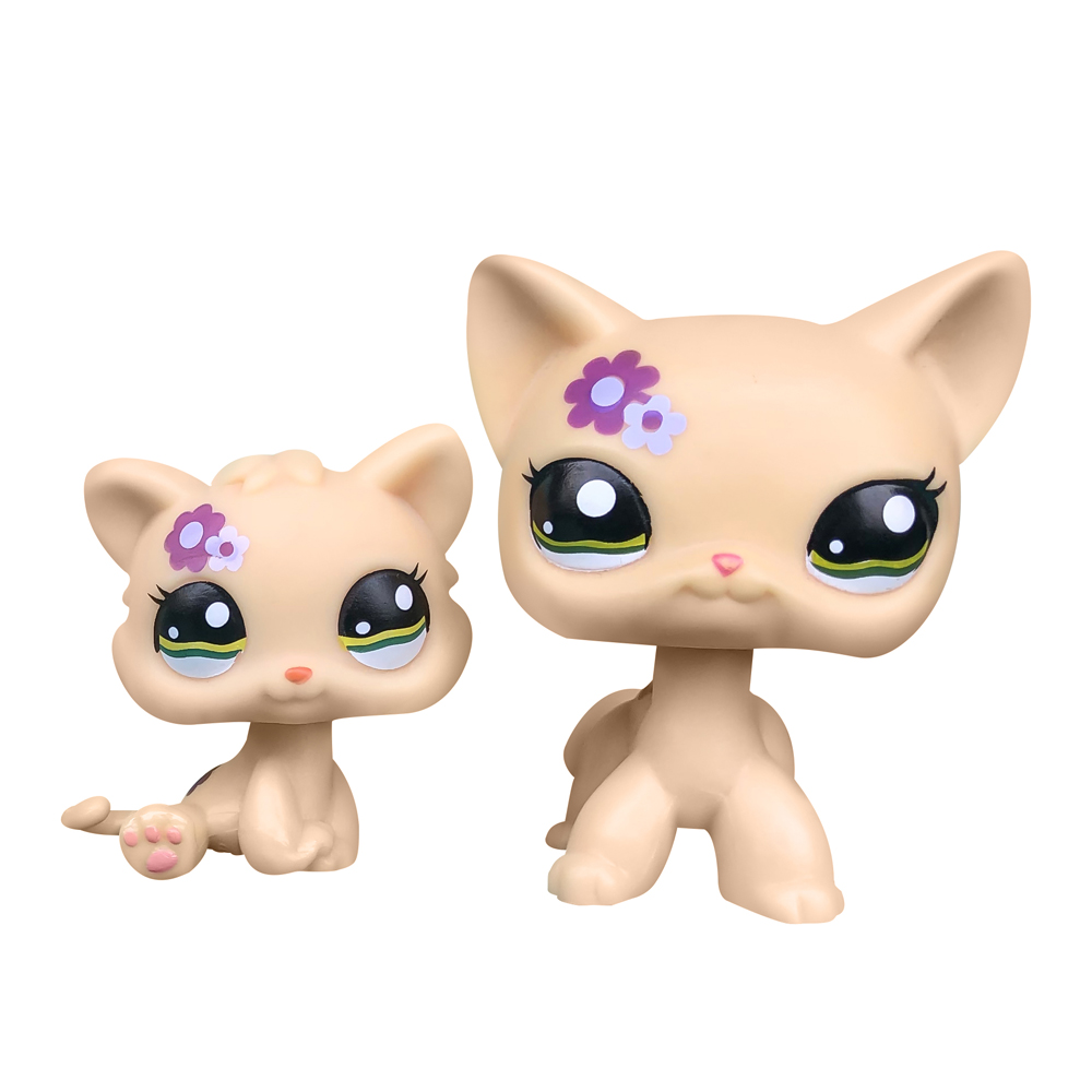 <font><b>LPS</b></font> <font><b>CAT</b></font> LPSCB Custom-Made <font><b>Baby</b></font> with Old Pet Shop Toys Standing Short Hair <font><b>Cat</b></font> #1962 Yellow Purple Flower Kitten image