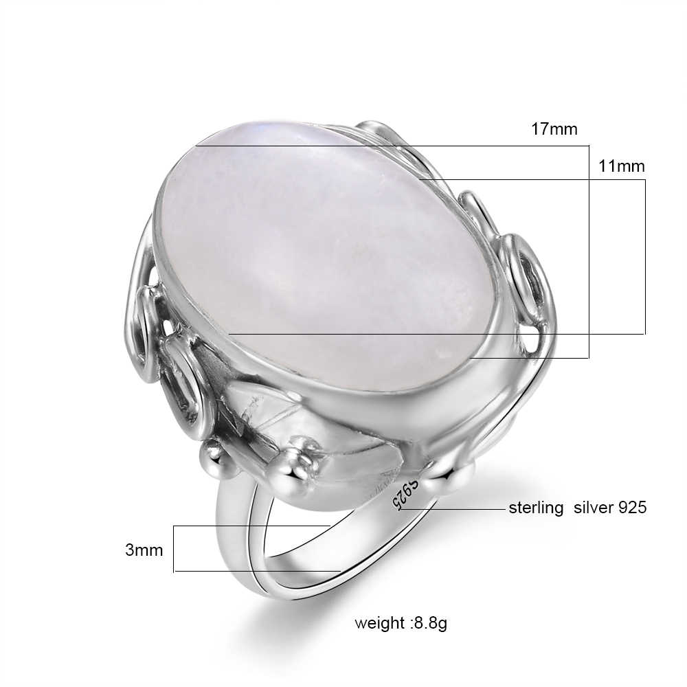 Натуральный лунный камень, кольца для мужчин, женское серебро 925 пробы, Ювелирное кольцо с большими камнями, 11x17 мм, овальные драгоценные камни, подарки, оптовая продажа