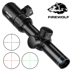 1-4X20 Rifle de alcance verde rojo iluminado Rifle visor Telémetro retícula Caza Rifle alcance aire Rifle visión óptica Caza