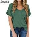 Летняя женская леопардовая футболка с v-образным вырезом и коротким рукавом большого размера плюс, модная повседневная футболка для женщин ...