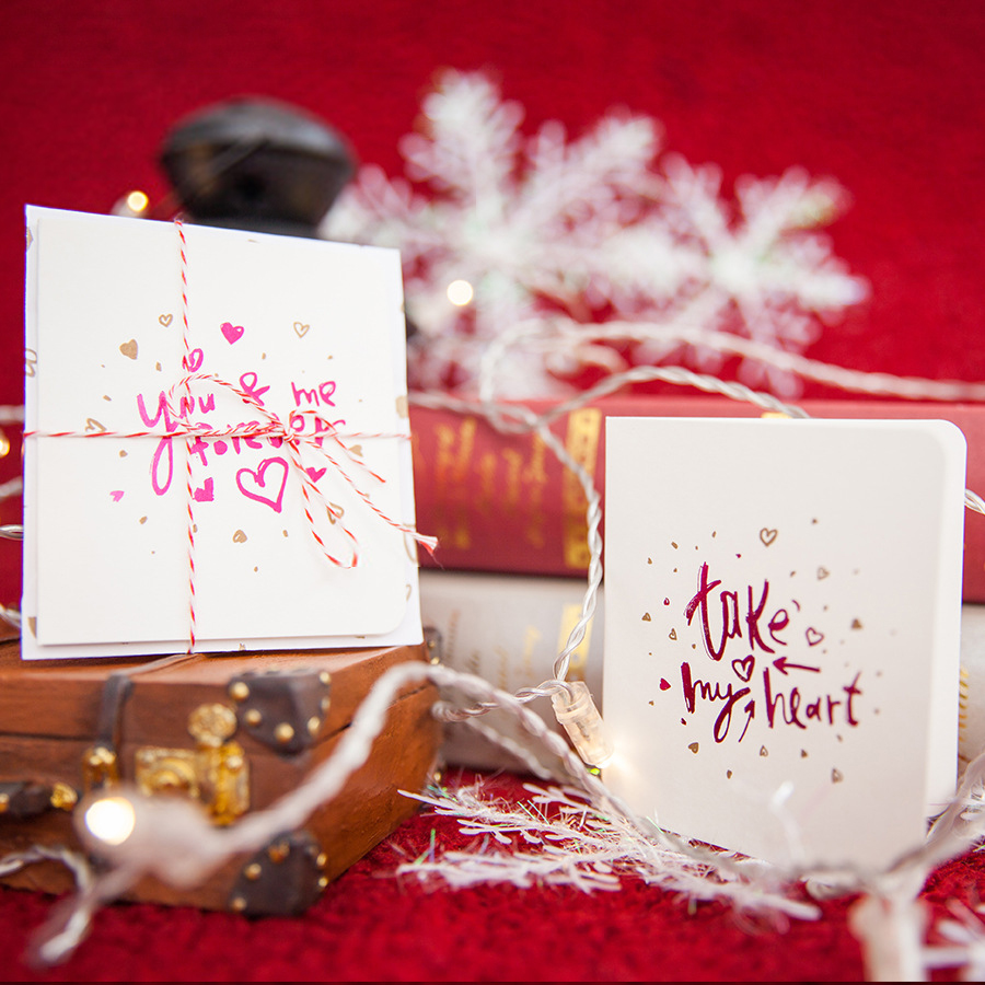 MIHIMIKI 8 Designs Creative Heart Greeting Cards With Envelopes For Birthday Valentine' Day Christmas Wedding Deco Gifts Cards