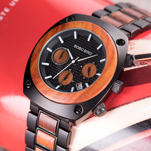 Image 3 - BOBO BIRD Wood Watch Men Stopwatches Handmade Relogio Masculino Japan Movement Quartz Wristwatch Gift for Male erkek kol saati