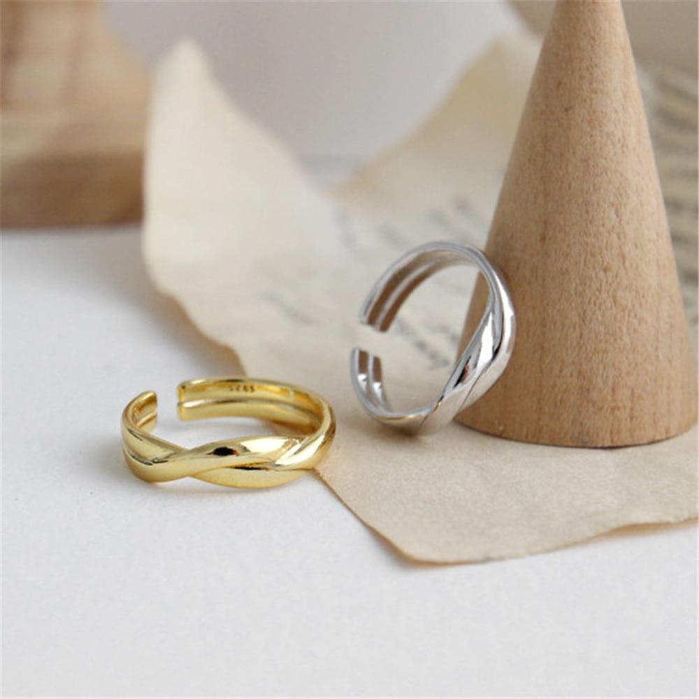 ANDYWEN 100% 925 argent Sterling or torsion anneaux mode femmes bijoux de luxe Simple mariage Rock Punk bijoux 2