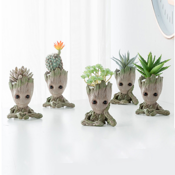 Creative Household baby Groot Flower Pot Ornaments Resin and Pen Holder for Desk Decoration