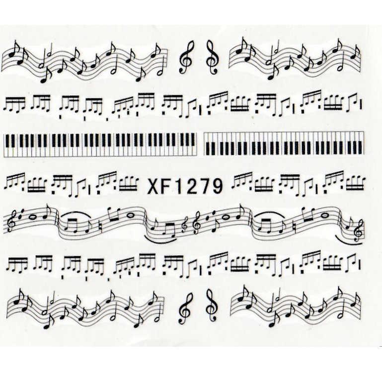 新 1 楽譜注メロディ水デカールアートアクセサリー転送ステッカーのヒント装飾ネイルサロン diy XF1279