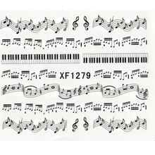 1 Sheet Music Note Melody Nail Water Decals Art Transfer Stickers Decoration Salon DIY XF1279