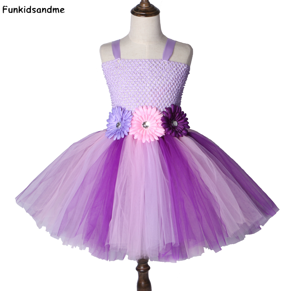 Girls Cute Purple Black Brown Tutu Party Princess Skirt Tulle Ruffle Animal Bow