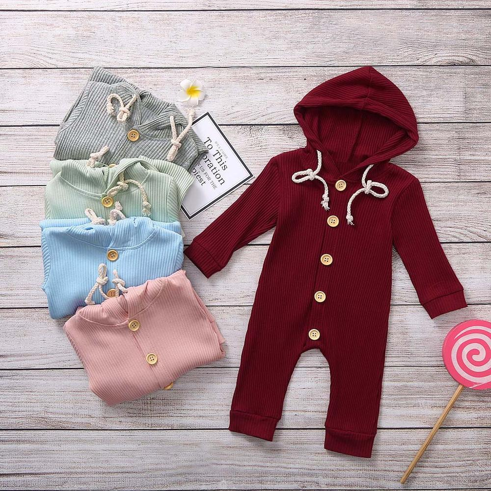 Newborn Infant Boy Girl Romper Hooded Baby Jumpsuit Bodysuit Outfits Clothes US