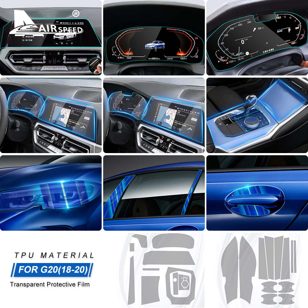 AIRSPEED LHD for BMW 3 Series G20 Accessories Special TPU Car Interior Protective Film Sticker Anti Scratch Bump Resistant Film