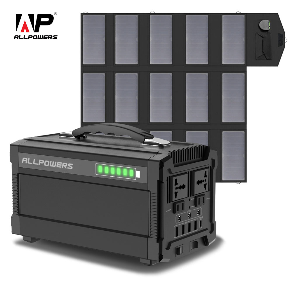 ALLPOWERS 78000mAh Portable Generator 288Wh Lithium Battery Solar charger with Solar Panel 100W Backup Supply110V 220V AC Outlet