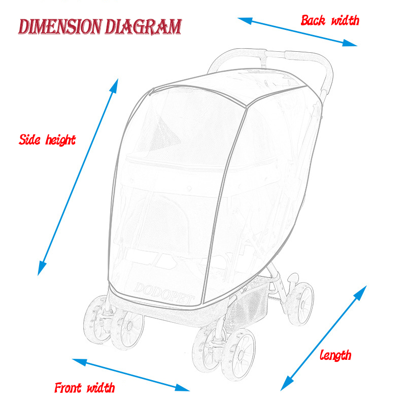 Pet Stroller Rain Cover Stroller Rain Cover Cart Rain Cover for All Kinds of Cat and Dog Carts 20