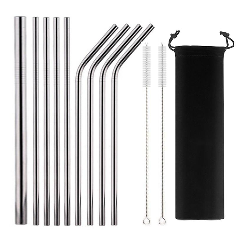 Многоразовая металлическая соломинка 304 нержавеющая сталь питьевой набор соломинок с чистящими кистями прямые изогнутые Боба соломенные в...