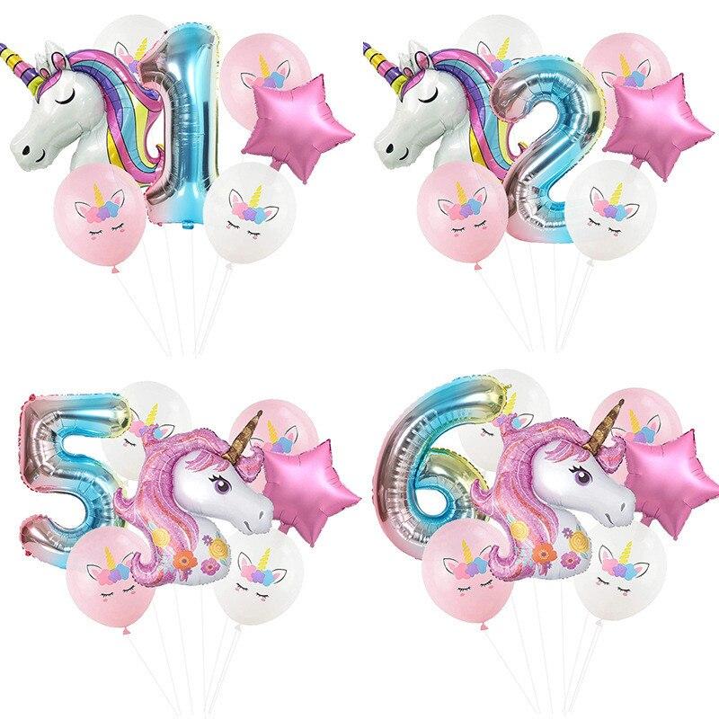 7 sztuk tęczowa opaska jednorożec balony na imprezę jednorożec dekoracje urodzinowe numer balon foliowy dla dzieci dekoracje na przyjęcie urodzinowe Baby Shower Globos