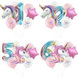 7Pcs Rainbow Unicorn Party Balloons Unicorn Birthday Decoration Number Foil Balloon Kids Birthday Party Decor Baby Shower Globos