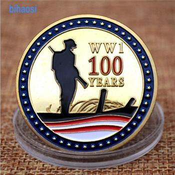 מטבעות זיכרון את יום השנה 100th של שביתת נשק של מלחמת העולם הראשונה זהב מצופה insignia הנצחה מדליון collectio