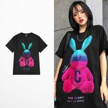 Camiseta divertida de moda para hombre y mujer, camisa con impresión de caricatura de conejo, de algodón, 100%, para amantes de la pareja, talla grande, nueva
