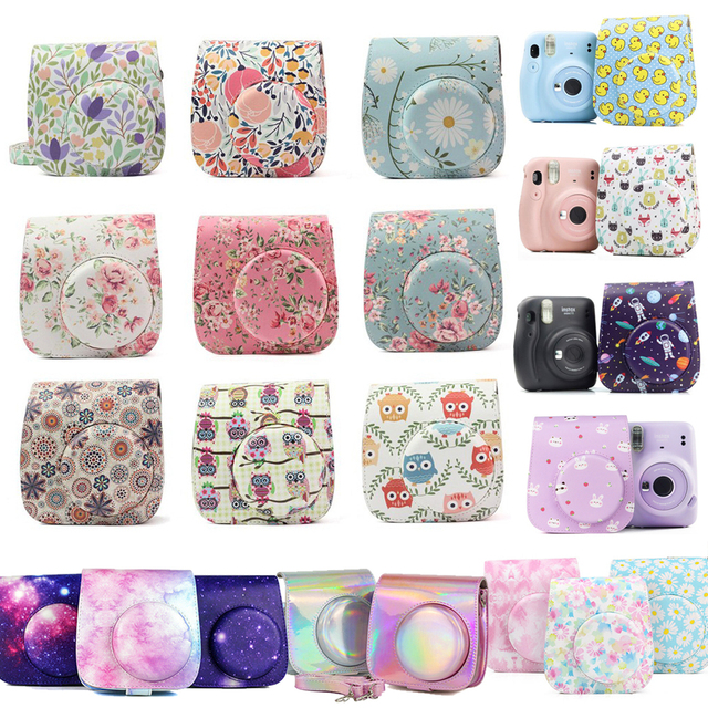กล้องป้องกันกรณีที่มีสีสันรูปแบบกระเป๋ากล้องหนังสำหรับFujifilm Instax Polaroid Mini 8/ Mini8 +/ 9กระเป๋าถือ
