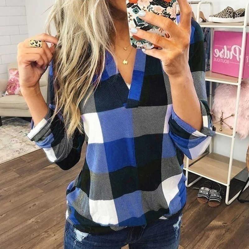 Lipswag 5XL рубашка клетчатая с v-образным вырезом блузка 2019 Женская Осенняя рубашка с длинными рукавами Мода плюс размер свободные топы для работы Blusa