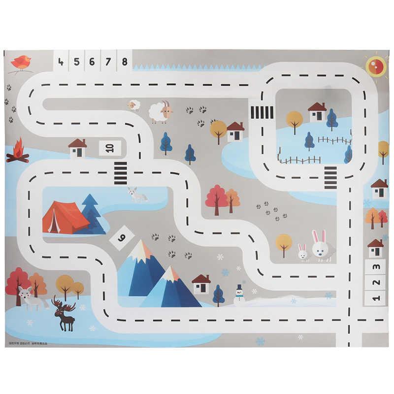 130*100cm tamaño grande impermeable nórdico azul blanco niños nieve tema Traffic Play Mat Mini aleación Juguetes Coche kit con señales de carretera