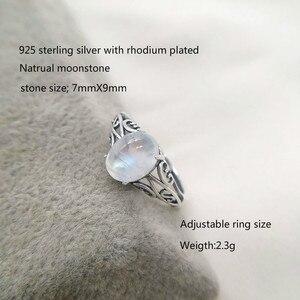 Image 2 - 7mm x 9mm טבעי מונסטון 925 כסף חלול אינפיניטי טבעות נשים חתונת אירוסין בציר תכשיטי אצבע bague