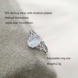 Image 2 - 7mmx9mm Natural Moonstone 925 Sterling Silver Hollow Infinity Rings For Women Wedding Engagement Vintage Jewelry Finger Bague