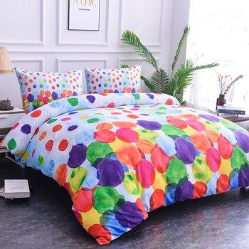 Ropa de cama textil para el hogar, estampado 3D de flores ricas y coloridas manchas, Serie de graffiti, funda de almohada, juego de funda de edredón