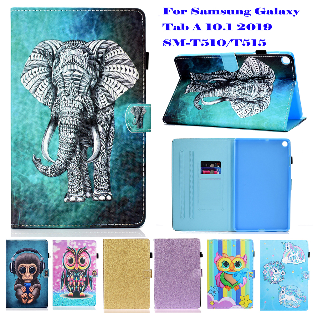 Case For Galaxy Tab A 10.1 2019 SM-T510 SM-T515 10.1 inch Protective Shell PU Leather Stand Magnet Smart Funda Cover Cartoon image