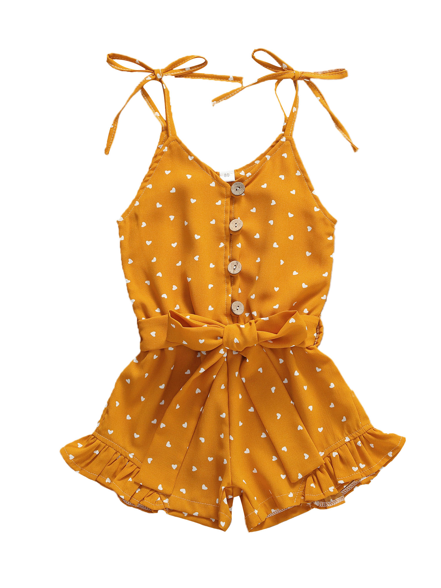 1-6Y Baby Girls Summer Rompers Sleveless Heart Print  Ruffles Single Breasted Romper One Piece Jumpsuits Sweet Girls Outfits