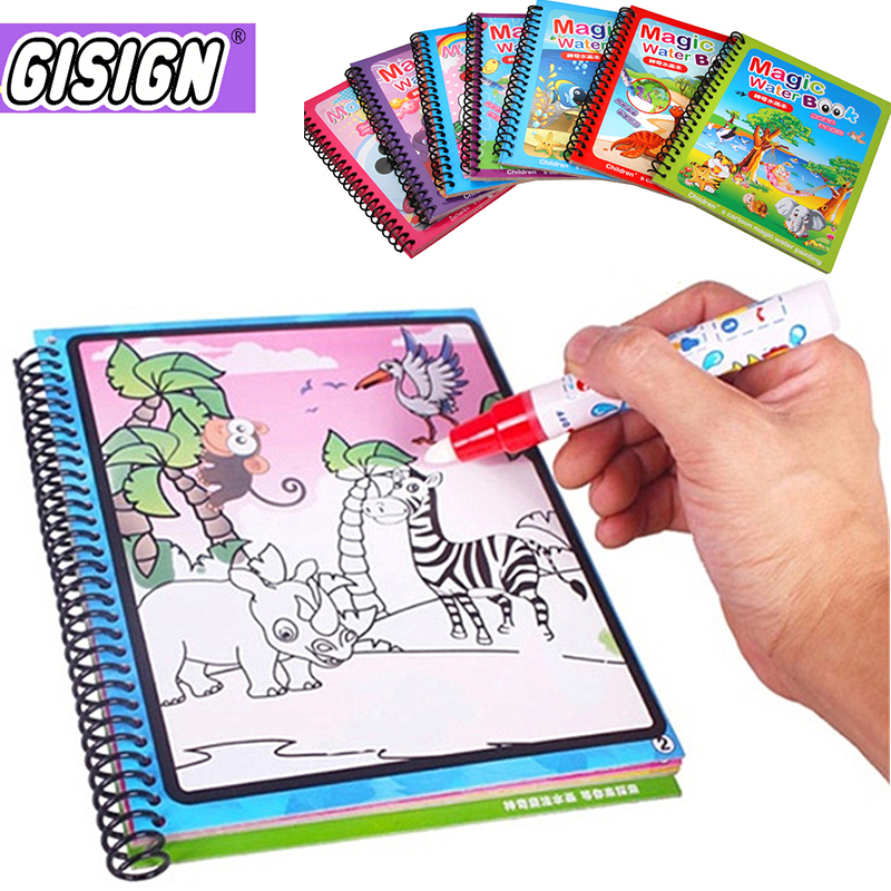 Water Painting Book Magic Drawing Coloring Books For Kids Reusable Doodle Board With Water Pen Crafts Art Birthday Gift Toys