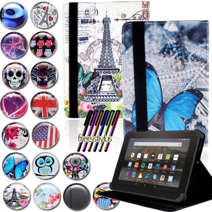 KK&LL Leather Tablet Stand Folio Cover Case For Amazon Fire 7 (5th / 7th / 9th Generation,2015 2017 2019 Release) With Alexa