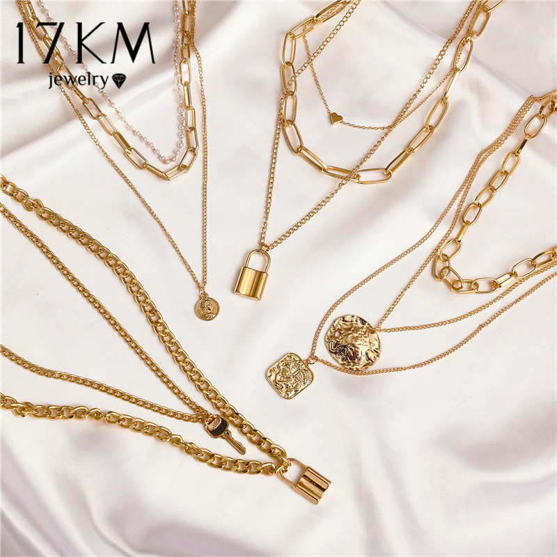 17KM Fashion Multi Layer Lock Portrait Pendants Necklaces For Women Gold Metal Key Heart Necklace New Design Jewelry Gift