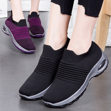 Women Shoes Stretch Fabric Flat Platform Shoes Woman Fashion Breathable Air Cushion Mixed Color Slip-On Socks Ladies Shoes 35-41