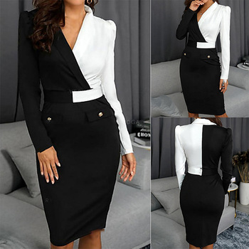 Women Elegant Long Sleeve Black And White Patchwork Casual Party Work Office Fitted Stretch Slim Pencil Sheath Bodycon Dress mixi women vintage dress 3 4 sleeve v neck casual work office party pencil dresses blue black red elegant mid calf bodycon dress
