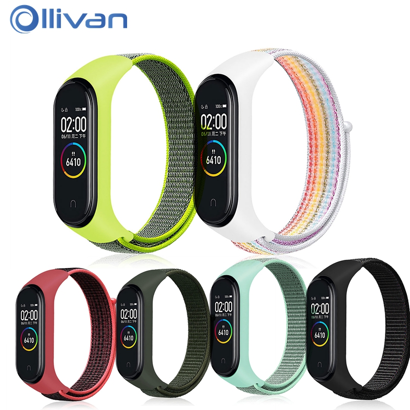 OLLIVAN New Rainbow Nylon Loop Wristband For Xiaomi Mi Band 4 Strap Bracelet Miband 4 3 Smart Band Pulseira Miband4 Accessories