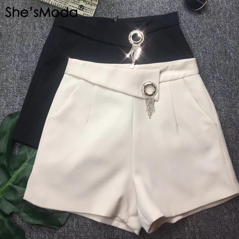 She'sModa OL Fashion Diamonds Back Zipper Suit Fabric Spring Summer Women's Shorts