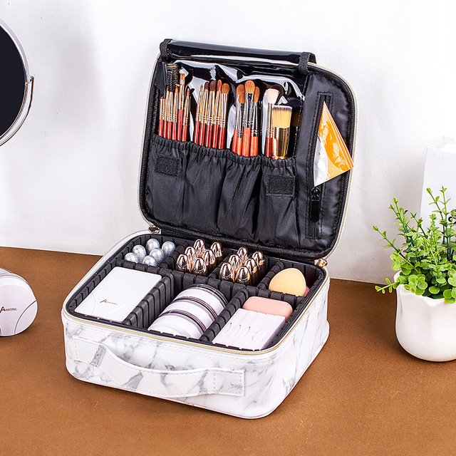 2020 New Marble Cosmetic Bag Partition Multi Functional Portable Travel Storage Makeup Case