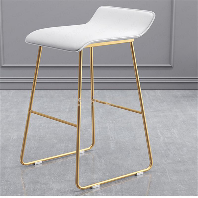 21%New Nordic Bar Stools Cafe Lounge Stool Simple Bar Stool Designer Wrought Iron Gold High Chair Padded Bar Chair