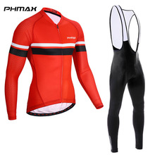 PHMAX Pro Bib Cycling Jersey Set Long Sleeve Cycling Clothing Autumn Quick-Dry MTB Bicycle Clothes Racing Bike Cycling Wear