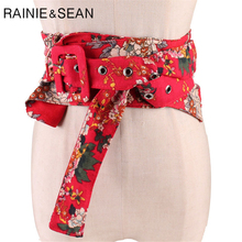 RAINIE SEAN Women's High Waist Belt Ethnic Womens Cummerbund Red Flower Print Ladies Japanese Kimono Belt flower print fringe hem kimono