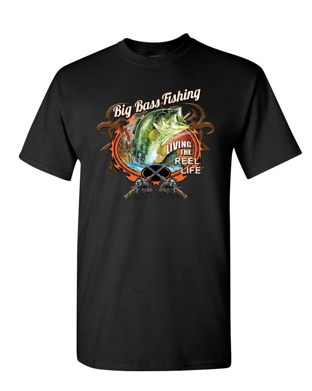 Big Bass Fishing Youth T-Shirt Living the Reel Life Fisherman Spinning Kids Tee