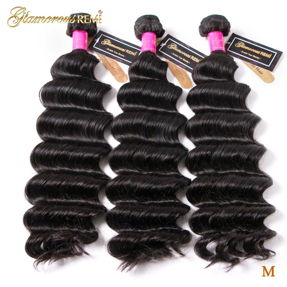 Loose Deep Wave 3Bundles Indian Human Hair Bundles Weave Remy Hair Extensions Natural Color Double Weft 8-26 inch Middle Ratio