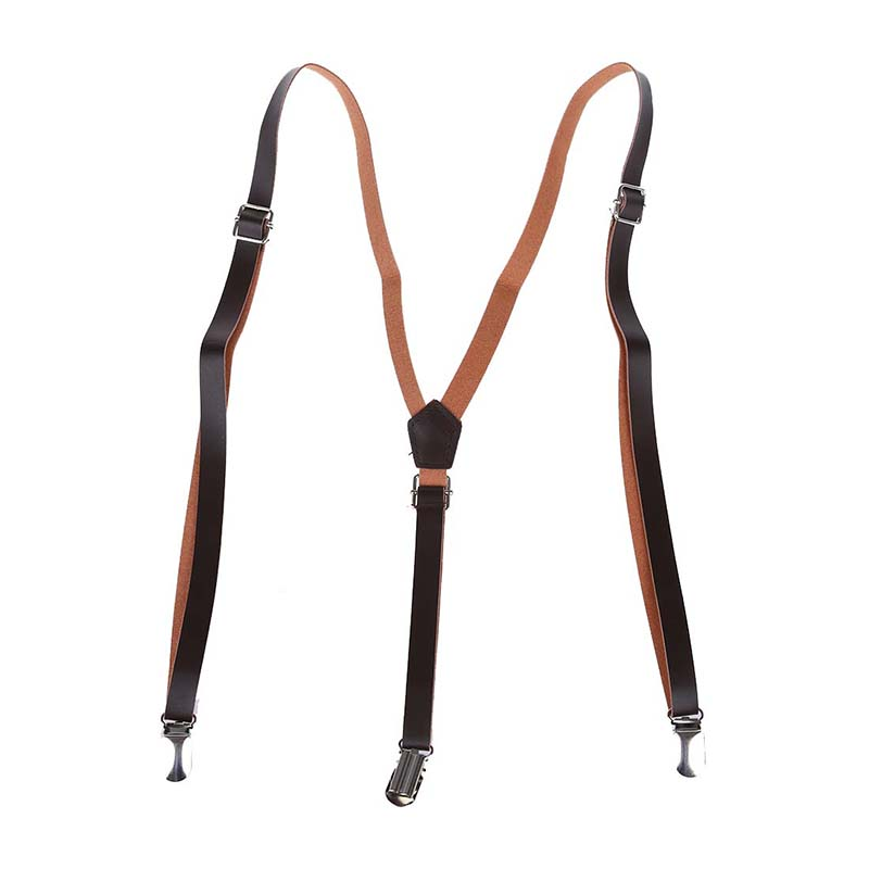 NEW-Coffee Faux Leather Adjustable Band Suspenders Braces
