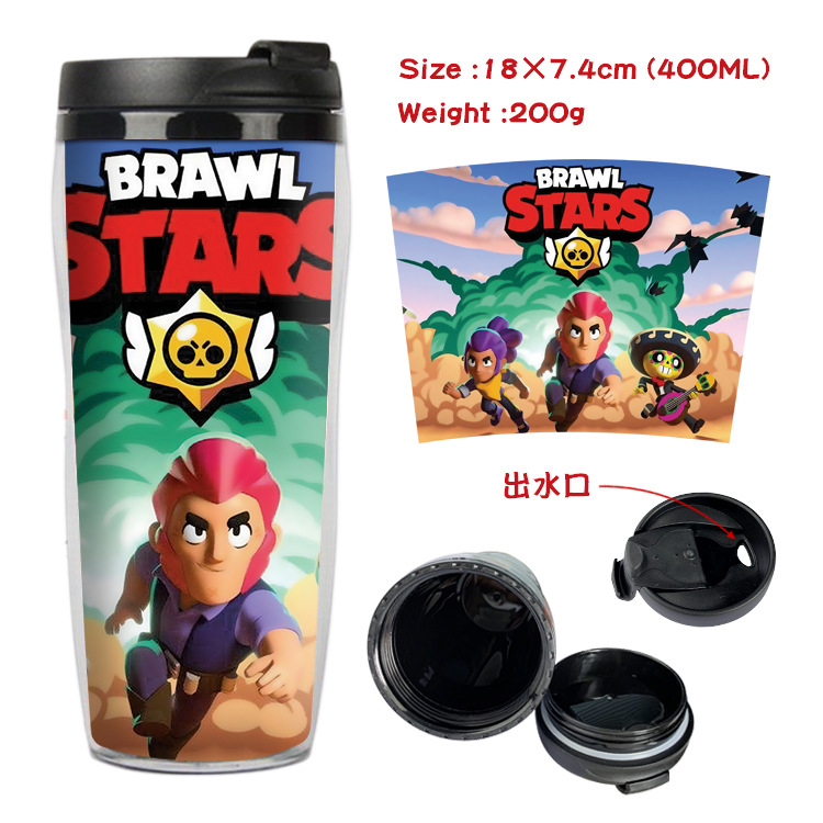 Brawl Stars Game Cup Cartoon 3D Peripheral Double Insulated Plastic Cup Anime Portable Sports Bottle Birthday Gift For Child Boy