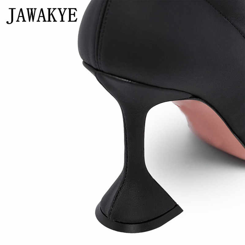 Yeni Siyah Yüksek Topuk Çizmeler Sivri Burun fincan Topuk Çorap yarım çizmeler Kadınlar Için Elastik kısa çizmeler İlkbahar sonbahar Kristal Ayakkabı Kadın