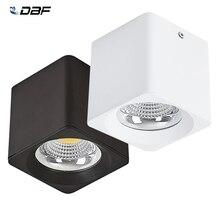 DBF kare yüzeye monte downlight 10W/20W/30W AC85 265V yüksek güç kısılabilir LED tavan spot ışık 3000K/4000K/6000K