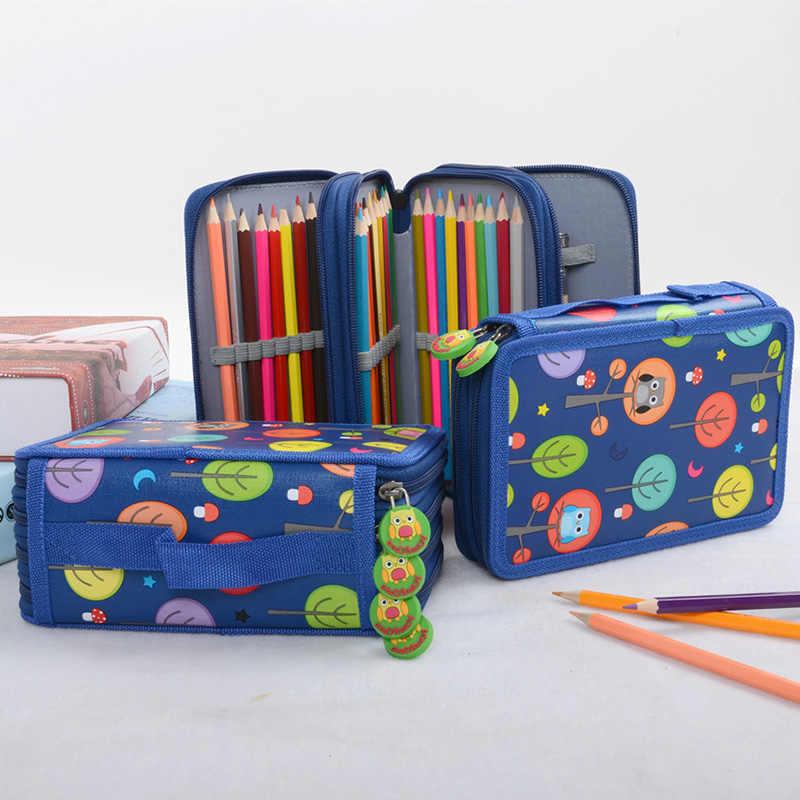 72 หลุมโรงเรียนดินสอกรณีน่ารักนกฮูกกล่องปากกาสำหรับเด็กตลับหมึกกระเป๋า Kawaii Penal บิ๊กเก็บ Pencilcase ชุดเครื่องเขียน