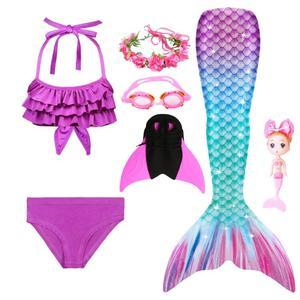Image 3 - 2020ใหม่เด็กMermaid Tail Swimmableชุดว่ายน้ำบิกินี่ชุดว่ายน้ำนางเงือกชุดMermaidตุ๊กตาMermaidวิกผมGarland