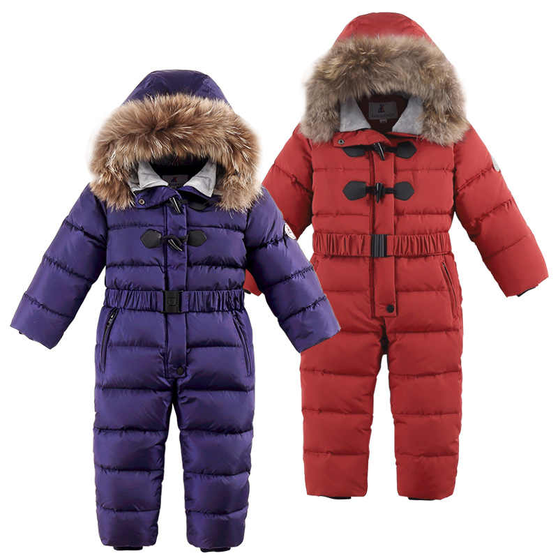 -30 degrees winter new children's warm snow suit Boys blue ski down jacket Girls outdoor thickening jumpsuit down coat coveralls