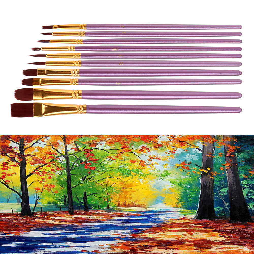 10 Piece/Set Oil Painting Brush Acrylic Paints Nylon Hair Watercolor Purple Artist Paint Brush Set Acrylic Drawing Art Supplies