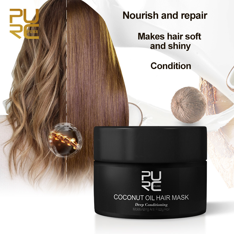 PURC 50ml Coconut Oil Hair Mask Repairs damage restore soft good or all hair types keratin Hair & Scalp Treatment for hair care|Hair & Scalp Treatments|   - AliExpress